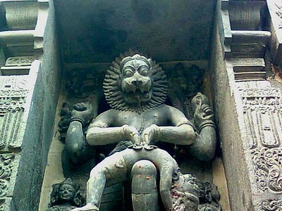 Lord Narasimha Rock Statue Backyard Simhachalam Temple