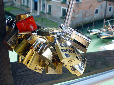 Love Padlock Talismans At Ponte Dell'Accademia