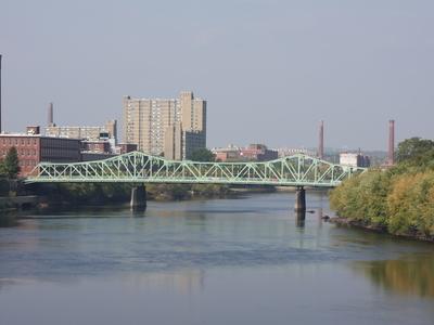 Lowell On The Merrimack River With Cox Bridge