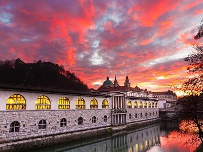 Ljubljana Central Market By Lubljanica River