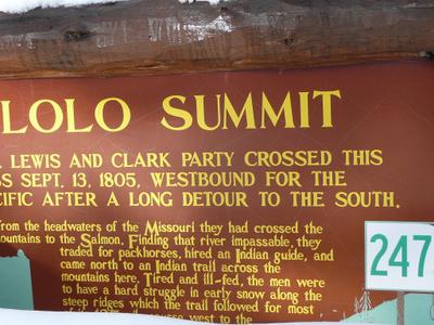 Lolo  Summit  Sign