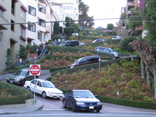 Cars Moving On Lombard Street