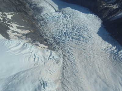 An Aerial View Down The Glacier