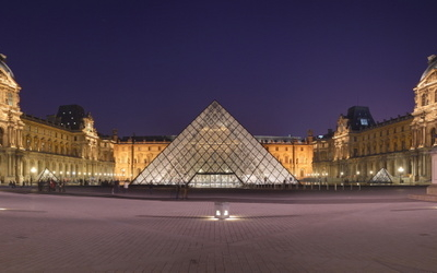 Night View Of The Palace And Louvre Pyramid