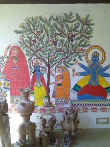 Madhubani Mural And Terracotta Figurine