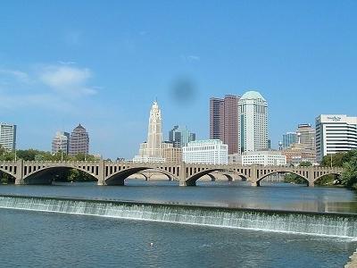 Main Street Bridge With 1937 Bridge In Foreground - Columbus OH