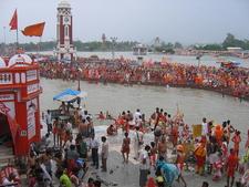 Malviya Dwipa Island Across Har Ki Pauri During Kavad Mela