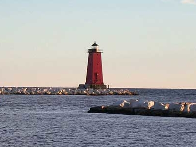 Manistique  Harbor  Light In  Manistique   Michigan