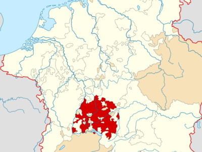 Map Indicating The Swabian Circle Of The Holy Roman Empire