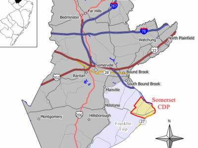 Map Of Somerset Cdp In Somerset County