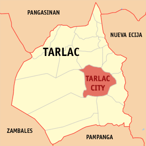 Map Of Tarlac Showing The Location Of Tarlac City.