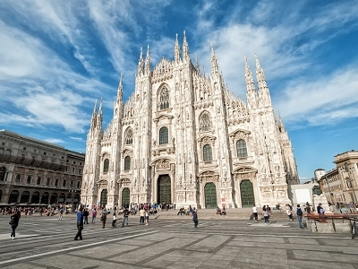 Milan Cathedral At Piazza Del Duomo