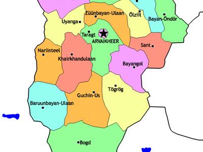 Mongolia  Ovorkhangai Sum Map