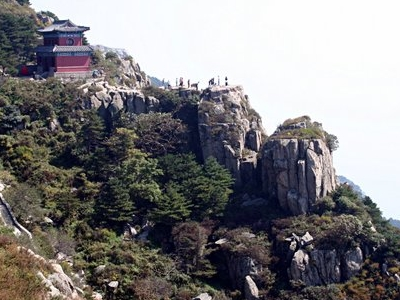 The Landscape Of Mount Tai With A Temple