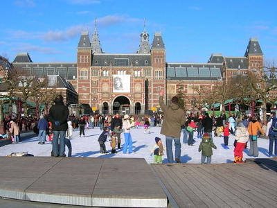 Ice Skating On Museumplein In The Winter