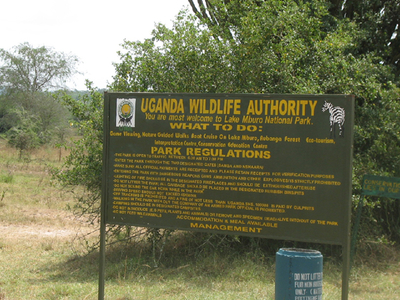 The Entrance Sign To Lake Mburo National Park