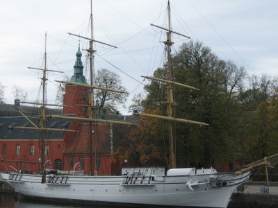 Sailing Ship HMS Najaden In Front Of Halmstad Castle