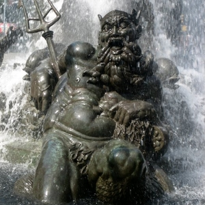 Neptune Lounging In Fountain Pool