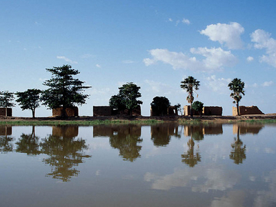 Mud Houses On The Center Island At Lake Débo