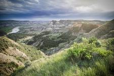North Dakota Badlands At Sundown