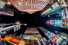 NY Times Square High Rise Buildings In Fisheye