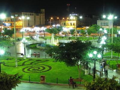 Nasca Main Square Garden At Night