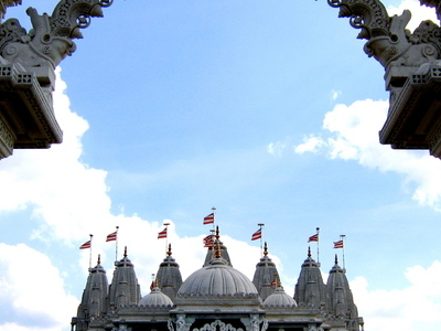 Front View Of The BAPS Shri Swaminarayan Mandir