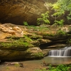 Old Mans Cave With Middle Falls
