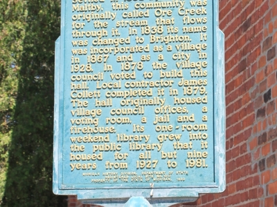 Old  Town  Hall  Historic  Marker  Brighton
