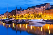 Old Town Pier With Ships & Sailing Yachts In Helsinki - Finland