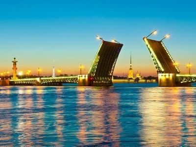 Palace Bridge Over Neva River In St. Petersburg