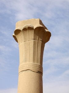 Palmiform Column From The Open Courtyard