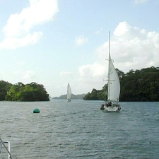 Panama Canal Banana Cut Sailboats