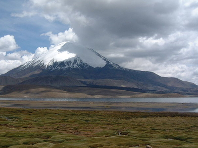 Parinacota Volcano And Lake Chungará