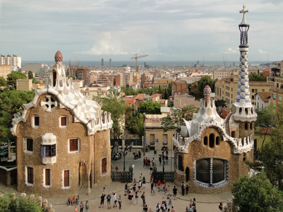 The Two Buildings At The Entrance Of The Park Guell