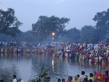 People Celebrating Chhath On 2nd Day Morning Around The P