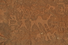 Petroglyphs In Wadi Rum Desert - Jordan