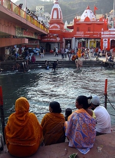 Pilgrims Sitting At The Ghats