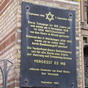 Plaque On The New Synagogue