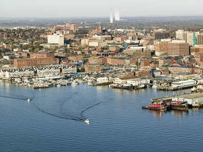Portland ME Harbor With Maine Medical Center