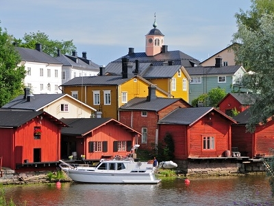 Porvoonjoki At Porvoo Old Town In Finland