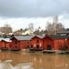 Porvoo Storage Houses Along Porvoonjoki In Finland
