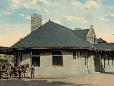 Postcard R R Station Bennington