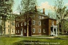 Postcard Of Massachusetts Hall Bowdoin College