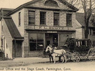 Postcard P O  2 6 Stage Coach Farmington C T 1 9 0 6