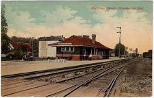 Postcard Winchester I N Big Four Railroad Depot Circa 1 9 1 9