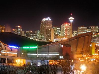 The Saddledome And Calgary Skyline At Night