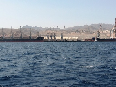 Port Of Eilat Seen From The Sea