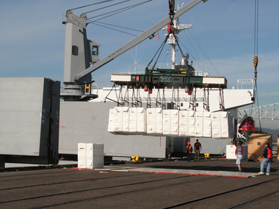 Pulp Is Loaded Into The Hold Of A Ship