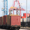 Train Loaded With Containers At Swanson Dock East